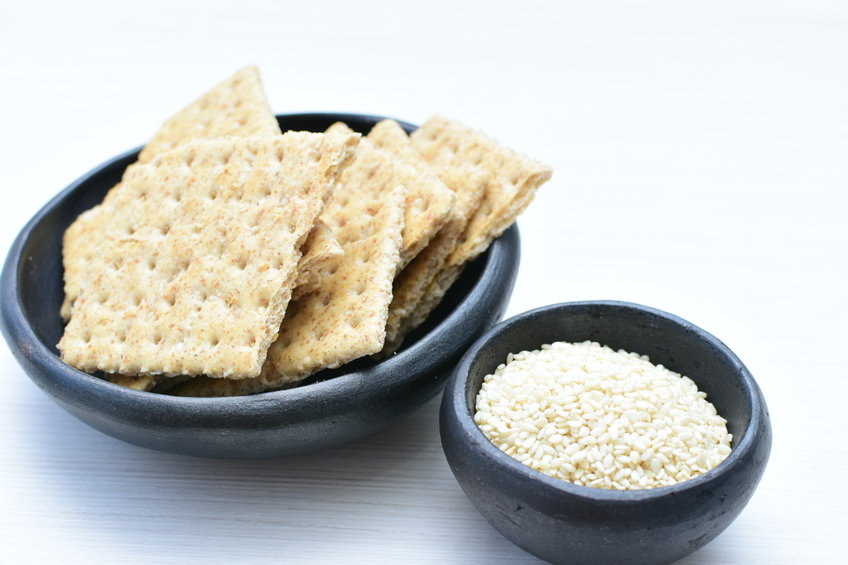 Almond Flour Crackers With Sesame Seeds
